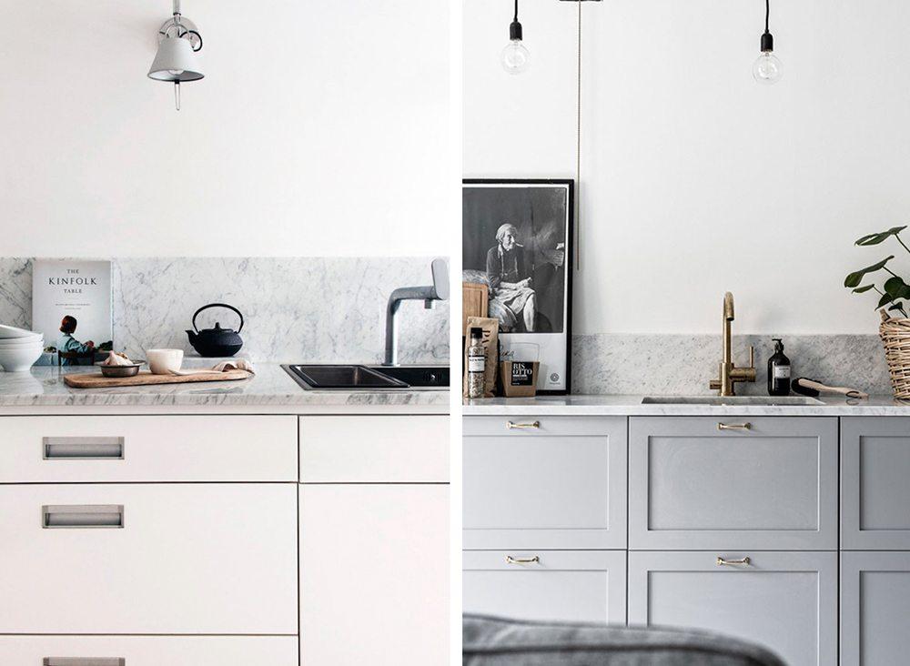 Stänkskiva marmor i vitt eller grått kök – Husligheter
