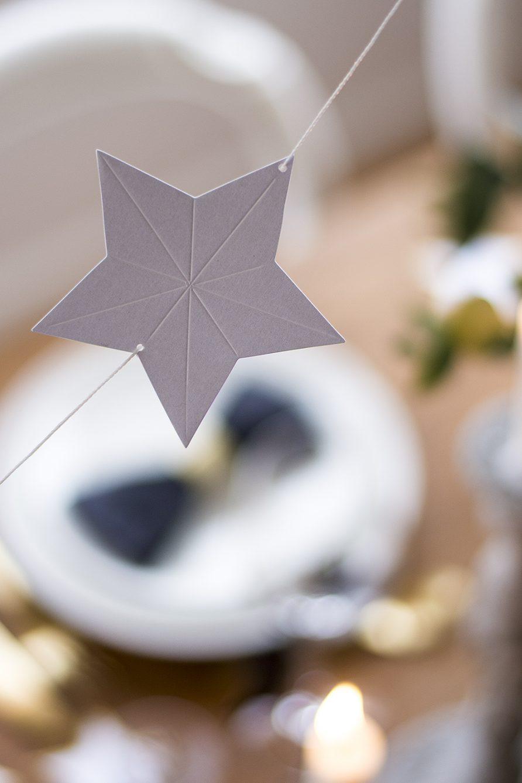 Nyårsdukning girlang med pappersstjärnor – Husligheter