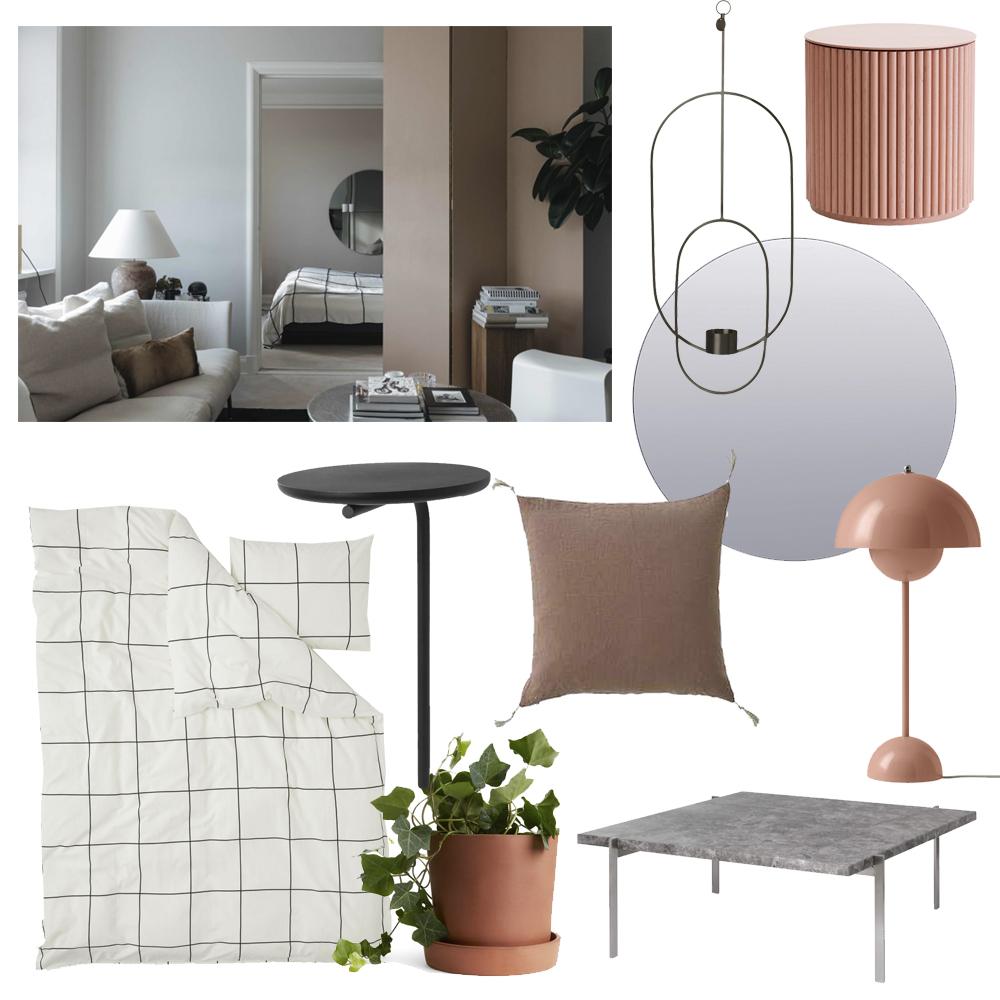 Rutigt och rosa – inspireras av lägenheten på Norr Mälarstrand